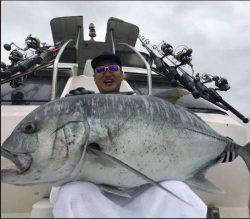 かっちゃんがザビエモンで釣ったGT(ロウニンアジ)の画像